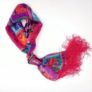 Laurel Burch Colorful Art Cats Silk Fringe Scarf